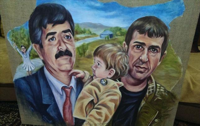 Çizim: Gülbahar Bozkurt - Abdullah Canan oğlu ve torunlarıyla